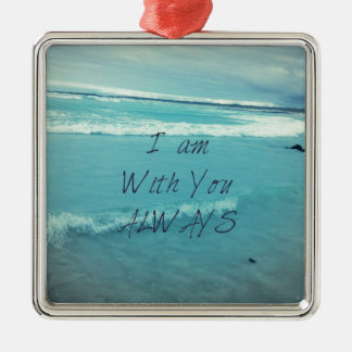Inspirational Bible Verse ocean - I am With You Silver-Colored Square Decoration