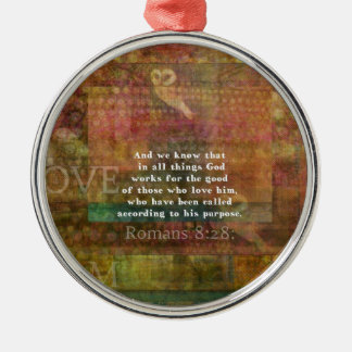 Inspirational Bible Verse Silver-Colored Round Decoration