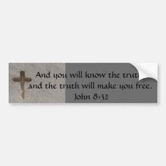 Inspirational Bible Verse TRUTH John 8:32 Bumper Sticker