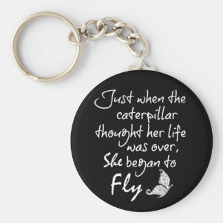 Inspirational Butterfly Quote Key Ring