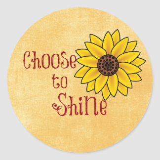 Inspirational Choose to Shine Quote with Sunflower Round Stickers