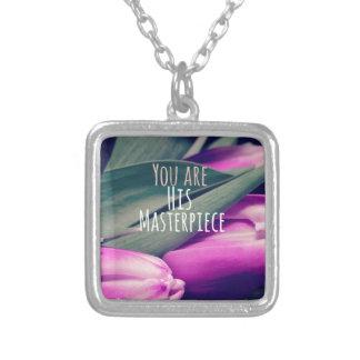 Inspirational Christian Quote His Masterpiece Silver Plated Necklace