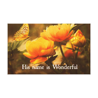 Inspirational Christian Quote: His Name is Canvas Print