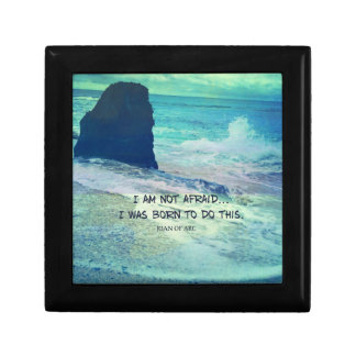 Inspirational courage quote JOAN OF ARC sea ocean Small Square Gift Box