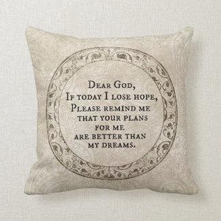 Inspirational Dear God Prayer Quote Cushion