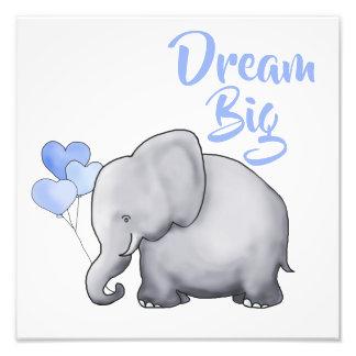 Inspirational DREAM BIG Cute Elephant Nursery Photo Print