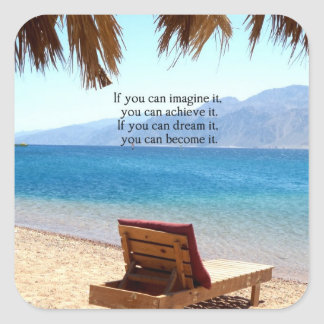 Inspirational DREAM quote with scenic beach photo Square Sticker