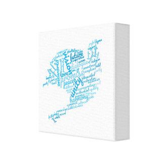 Inspirational Elegant Dove of Peace Tag Cloud Canvas Print