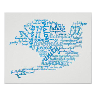 Inspirational Elegant Dove of Peace Tag Cloud Poster
