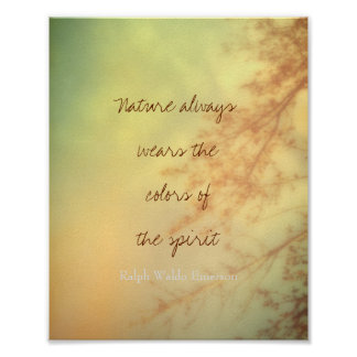 inspirational Emerson quote nature art Poster