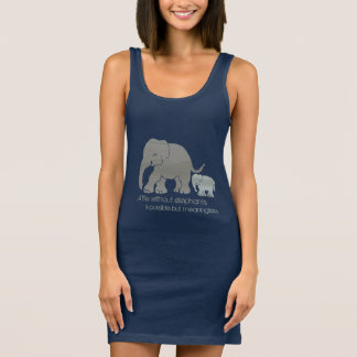 Inspirational Fun Cute Elephant with Baby on Blue Sleeveless Dress