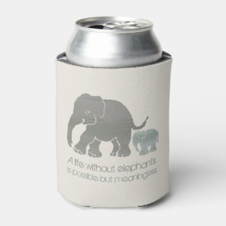 Inspirational Fun Earth Colors Elephant with Baby Can Cooler