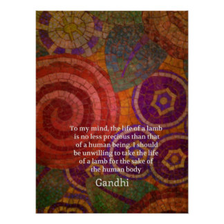 Inspirational Gandhi animal rights quote ART Poster