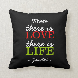 Inspirational Gandhi Quote Black White Throw Pillow