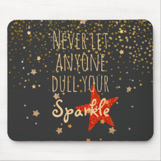 Inspirational Girly Sparkle Quote | Gold Confetti Mouse Pad
