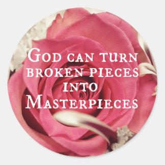 Inspirational God Quote Masterpiece Round Stickers