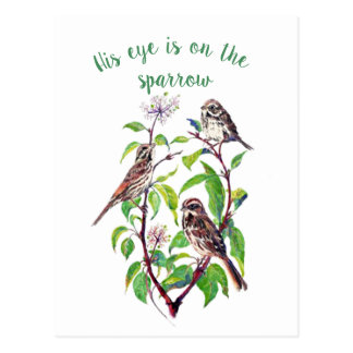 Inspirational His Eye is on the Sparrow, Postcard