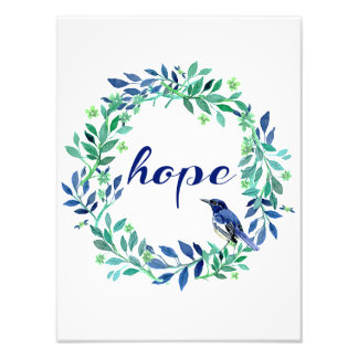 """Inspirational """"Hope"""" Saying With Wreath And Bird Photographic Print"""