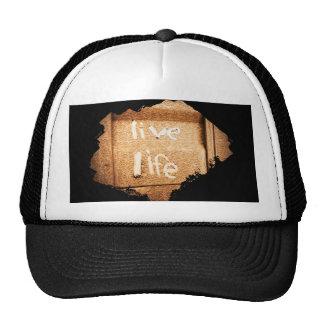 Inspirational live life rustic black and gold cap