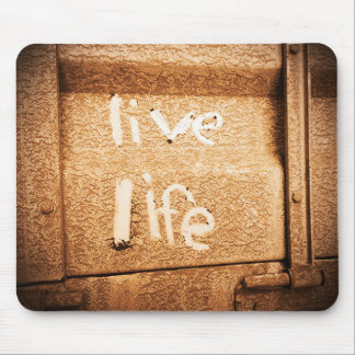 Inspirational live life rustic black and gold mouse pad