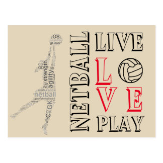 Inspirational Live Love Play Netball Quote Postcard