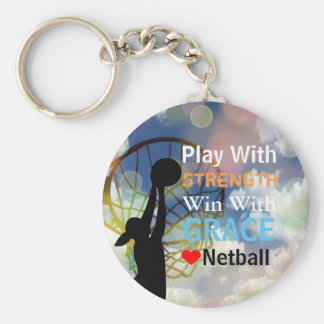 Inspirational Love Netball Player Quote Basic Round Button Key Ring