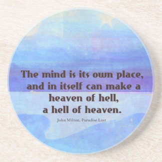 Inspirational Milton quote Paradise Lost Coaster