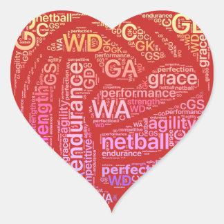 Inspirational Netball Positions Heart Design Heart Sticker