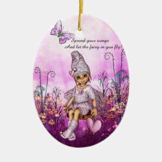 Inspirational Pink Fairy Ceramic Ornament