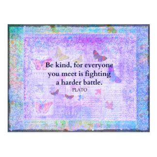 Inspirational Plato Compassion quote Postcard