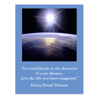 Inspirational postcard. Quote: Thoreau dreams Postcard