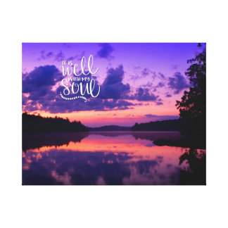 Inspirational Purple Lake Scenic Canvas