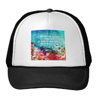 Inspirational quote among corals cap