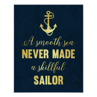 Inspirational quote Anchor print gold foil art