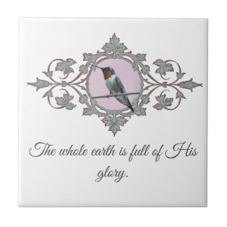 Inspirational Quote and Photo of Hummingbird Tile