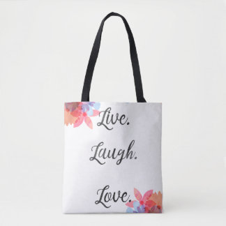 Inspirational Quote Bag, Live Love Laugh Art Tote Bag