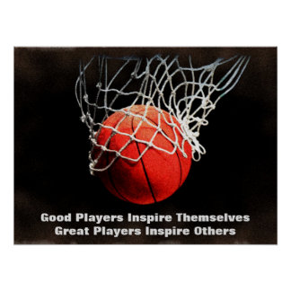Inspirational Quote Basketball Inspire Team Poster