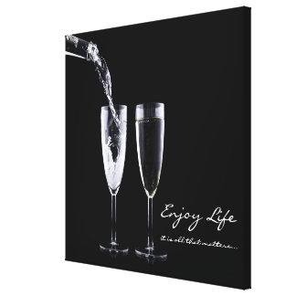 Inspirational Quote Champagne Flute Black White Canvas Print