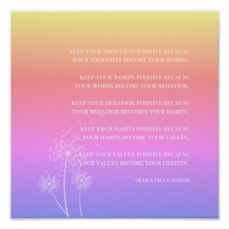Inspirational Quote | Gandhi Positive Thinking Poster