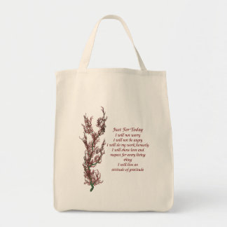 Inspirational Quote Just For Today Grocery Tote Bag