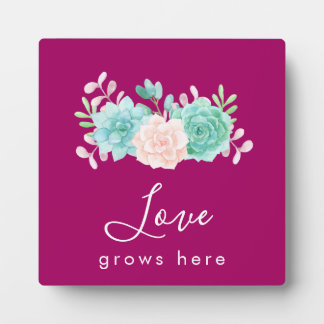 Inspirational Quote Love Grows Here Floral Bouquet Plaque