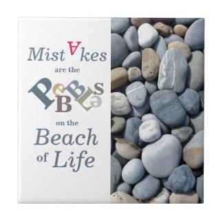 Inspirational Quote Pebble Stones Ceramic Tile