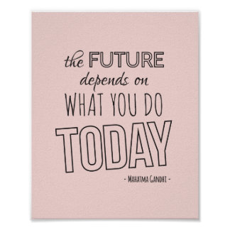 Inspirational Quote Poster The Future Pink Trend