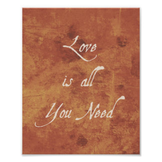 Inspirational Quote Print Love Is Autumn Antique Poster
