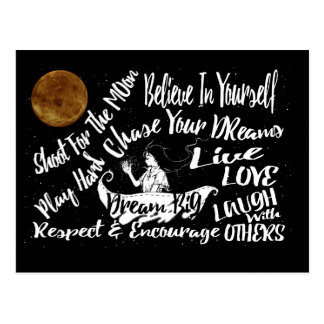 Inspirational Quote Stars @ Night Lighthouse Route Postcard