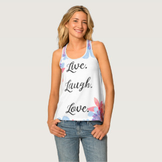 Inspirational Quote Top, Live Love Laugh Art Singlet