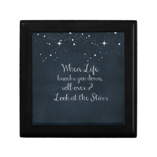 Inspirational Quote: When Life Knocks you Down Small Square Gift Box