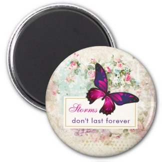 Inspirational Quote with Butterfly on Vintage Back Magnet