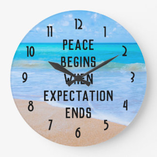 Inspirational Quote with Tropical Beach Scene Large Clock