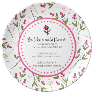 Inspirational Quote With Wildflower Pattern Plate